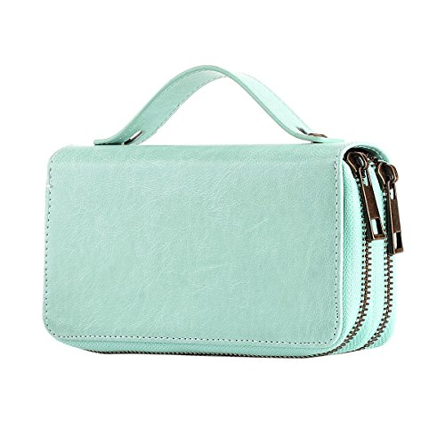 HAWEE Big Size Long Wallet with Leash for Woman Dual Zippered Clutch Purse Premium PU 5 Credit Card Slot 1 Smart Phone Slot 1 Coin Purse and Ample Compartments for Cash and Note, Light Blue with Strap