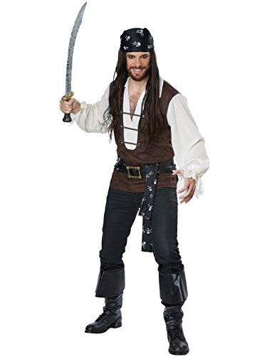 California Costumes Men's High Seas Adventurer Adult Man Costume, Brown/Cream, Medium -