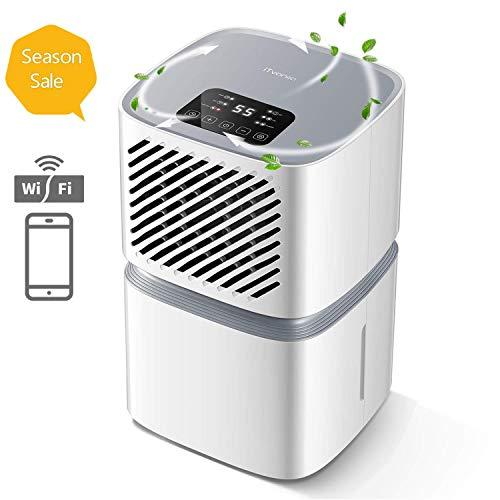 Dehumidifier,iTvanila12L/DayAirDehumidifierforHomewithWi-Fi Control,LEDDisplaywithAuto Off Sensor, Laundry Drying,Continuous Drainage with Hose, 2YearWarranty