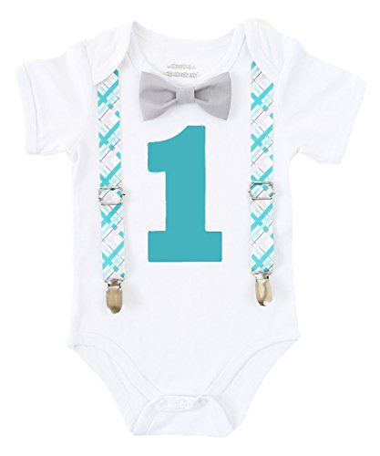 Noah's Boytique First Birthday Boys Outfit Teal and Grey Plaid with Grey Bow Tie 18-24 Months