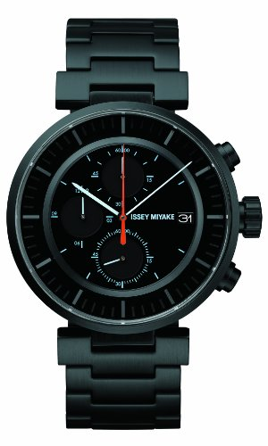 Issey Miyake W Unisex Quartz Watch with Black Dial Chronograph Display and Black Stainless Steel Bracelet SILAY002