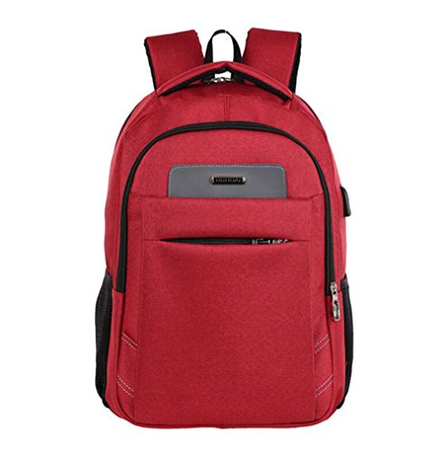 WYXIN Reise-Laptop-Rucksack, Geschäfts-wasserdichter Polyester-Computer-Rucksack mit USB-Ladehafen, dauerhafte College-Laptop-Tasche für Frauen u. Männer Passt 16 Zoll-Laptop und Notizbuch an red