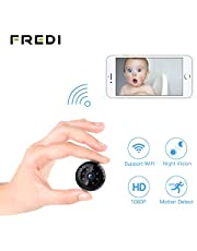 Spy Camera 1080P,FREDI Hidden Camera Wifi Mini Camera Indoor Small Camera Wireless Tiny Covert Cam Security Home Camera with Night Vision/Motion Detection for iPhone/Android Phone/iPad