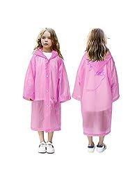 VCOSTORE Kids Rain Coat, Colored Rain Poncho Wrinkle Free Rainwear for Boys Girls Age 6-12