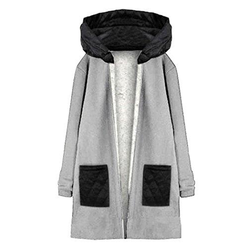 abrigo capucha mujer Escudo de Top Outwear para Gris manga Internet con Abrigo cortavientos Chaqueta larga dBw4Rq