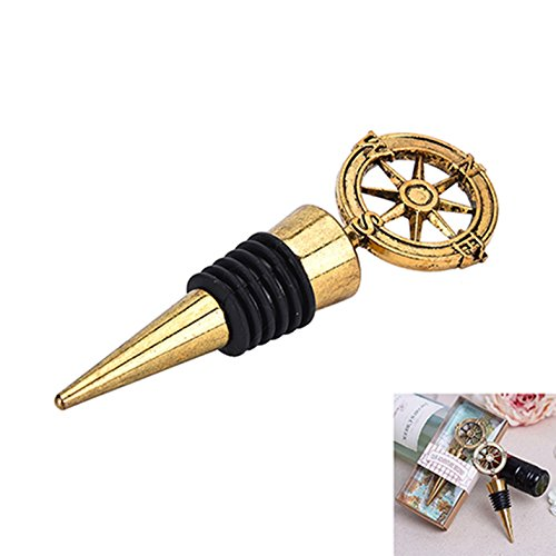 1 Set Golden Compass Wine Stopper Bottle Opener Keychain Wedding Party Favors Key Rings Chains Wrist Holder Strap Important Popular Beer Openers Corkscrew Catcher Knife Vintage Utility Pocket Eagle End Cap