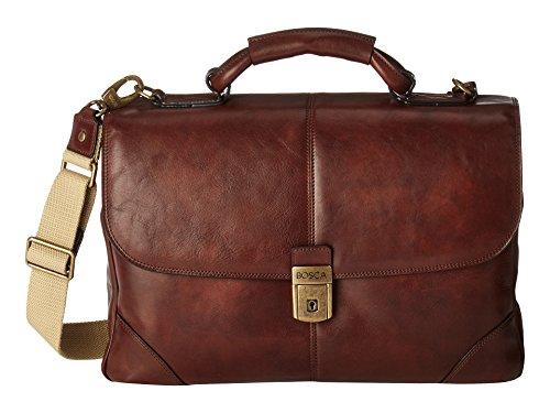 Bosca Men's Dolce Collection Flapover Briefcase (Dark ()