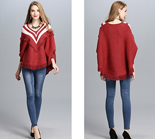 Suelto Mujeres Pulóver Chal V Otoño Elegante De Casual Mantón E Chaquetas cuello Abrigo Outwear Rojo WanYang Vino Punto Invierno x0qSdpggw