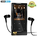 MP3 Player with Bluetooth 4.1, 16GB Hi-Fi Lossless Music Player with FM Radio, Speaker, Voice Recorder, Video Player, Ebook&Picture Reader, Touch-Buttion 2.4'' Screen with Earphone