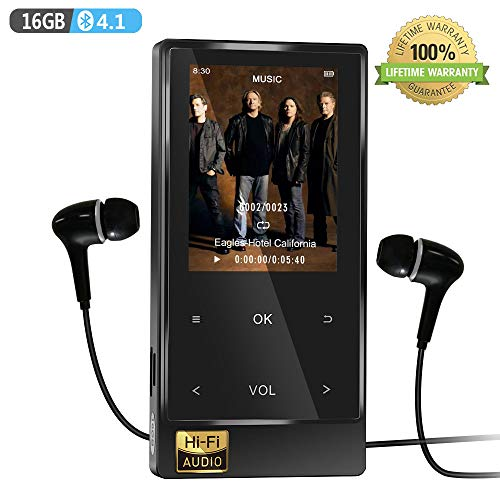 MP3 Player with Bluetooth 4.1, 16GB Hi-Fi Lossless Music Player with FM Radio, Speaker, Voice Recorder, Video Player, Ebook&Picture Reader, Touch-Buttion 2.4'' Screen with Earphone (Ipods And Mp3 Players)