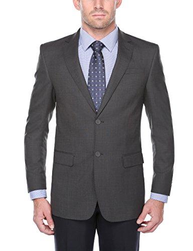 Chama Men's 100% Wool Single Breasted Classic & Slim Fit Blazer (Dark Grey, - Fully Lined Classic Blazer