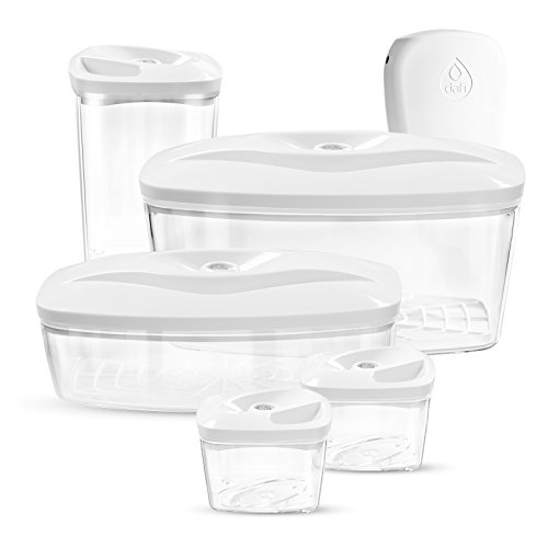 (Dafi Set of 5 Vacuum Seal Containers with Electric Pump - Innovative and Unique Vacuum Food Storage - Keep your food fresh up to 5 times longer (White))