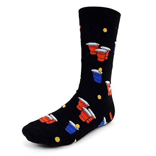 Urban Peacock Men's Novelty Fun Crew Socks for Dress or Casual - Party Time! - Multiple Patterns to Select From (Beer Pong - Black, 1 Pair) ()