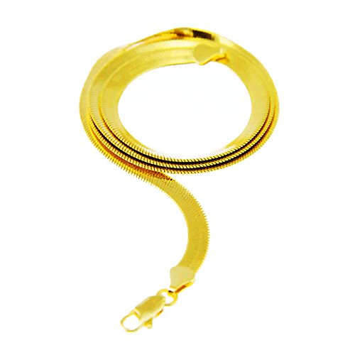 Men's Women's Flat Flexible Shine Herringbone Chain Necklace 14kt Gold Plated sized 20