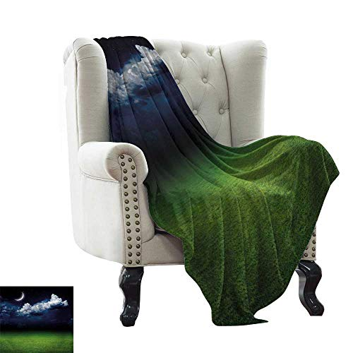 Baby Month Blanket Night,Green Grass Landscape and Fluffy White Clouds Mystical Idyllic Lunar View,Green Indigo White Comfortable Soft Material,give You Great Sleep 70