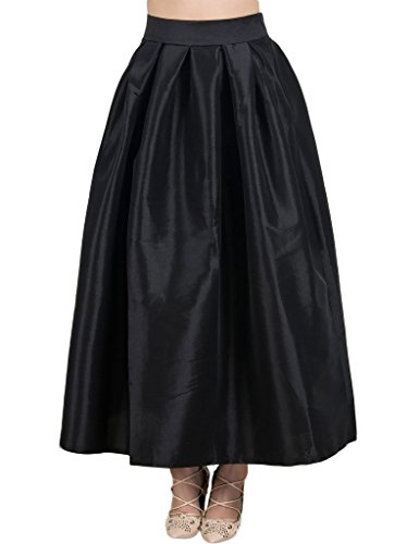 Women's High Waist A Line Pleated Swing Long Party Skirt - Satin Flare Skirt