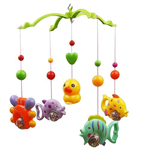 TOYMYTOY Musical Mobile Baby Crib Mobile Music Bed Bell Funny Fish Crab and Duck (Random Color)