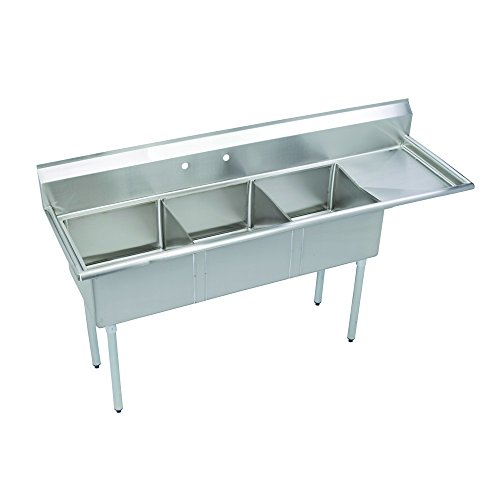 Fenix Sol 18G-3C18X24-R18 Three Compartment Stainless Steel Sink, Bowl: 18''L x 24''W x 12''D, Overall Size: 74.5''L x 29.5''W x 43.75''H, 1 x 18'' Right Drainboard, Galv Legs by Fausett International