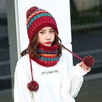 07f9a97240a16 HOKUGA  BINGYUANHAOXUAN 2017 Winter Knitted Hat Women Scarf Caps Mask  Gorras Bonnet Warm Baggy Winter