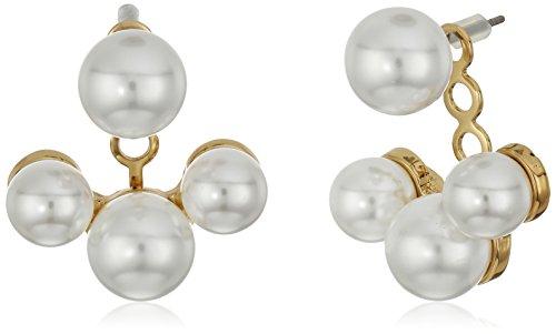 Kenneth Jay Lane Gold/White Pearl Post Earrings Jacket