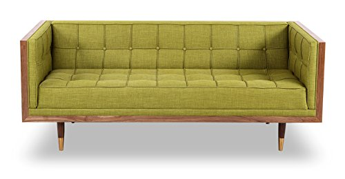 Moss Loveseat (Kardiel Woodrow Mid-century Modern Box Loveseat, Atomic Moss Twill/Walnut)
