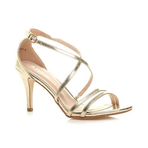 Sandalias Noches Mujer Tiras Medio alto Metálico Oro Para Bodas De Tacón Cruzadas rqfZrw1