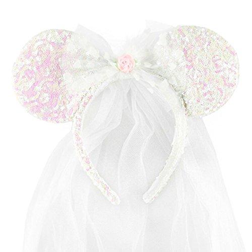 Disney Park Exclusive Minnie Mouse Ears Headband Wedding Veil (Disney Minnie Ears Headband)