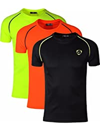 jeansian Men's 3 Packs Athletic Quick Dry Compression Sport T-Shirt Tees LSL182