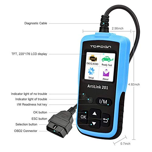 Auto Code Reader TOPDON AL201 OBD2 Scanner Car Diagnostic Tool Full OBDII Functions Scan Tool for I/M Emission Test, On-board Monitoring and Turning off MIL(Check Engine Light) by TT TOPDON (Image #1)
