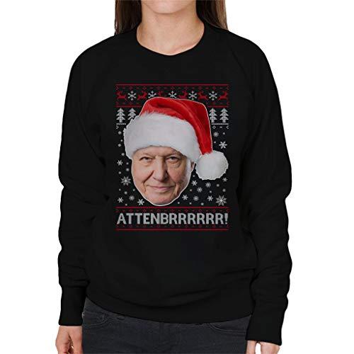 Coto7 Women's Attenbrrrrrr Sweatshirt Black David Knit Attenborough Christmas qxP4HqA