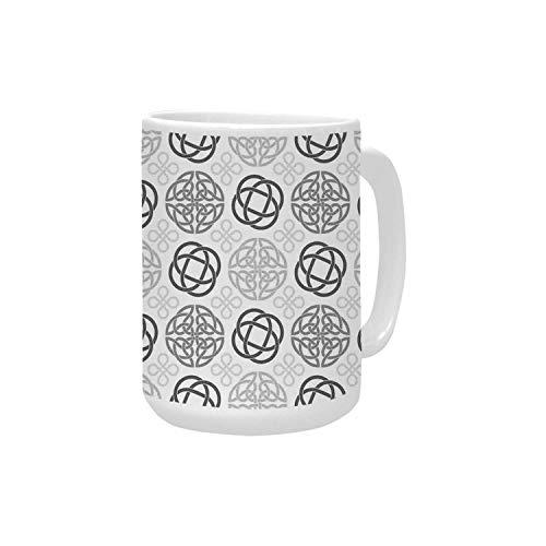 Celtic Decor Ceramic Mug,Traditional Ireland Round Cross Celtic Love Knots with Shamrock Motifs Art Design Pattern for Home,15OZ
