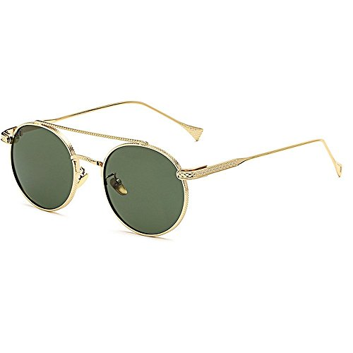 MINCL/Men and Women Round Metal Frame Sunglasses Designer Exquisite Eye Glasses -yhl (gold-green, - Brands High End Eyeglasses