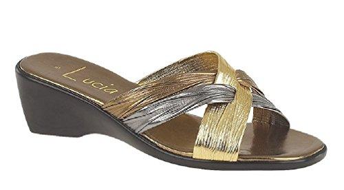 Boulevard X Strap Italian Summer Mule Sandals - Bronze/Pewter/Gold PU, Ladies UK 3 / EU 36