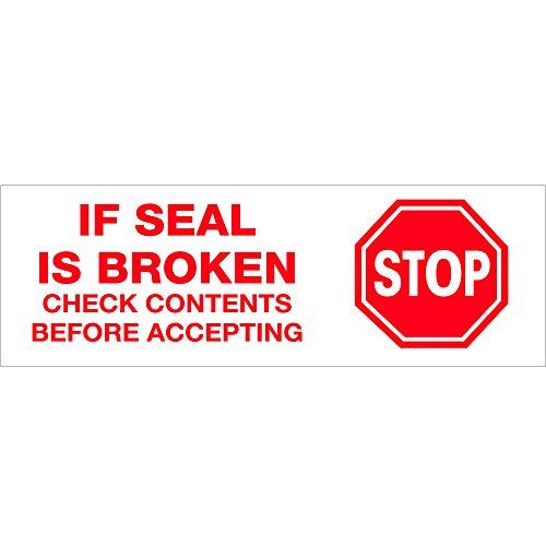 Tape Logic TLT901P016PK Pre-Printed Carton Sealing Tape,Stop If Seal Is Broken., 2.2 Mil, 2'' x 55 yds, Red/White, 6/Case by Tape Logic