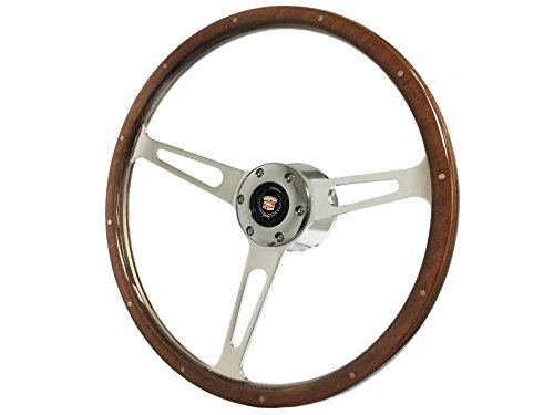1969-1989 Cadillac S6 Classic Wood Steering Wheel Kit | Non-Telescopic Hub & Chrome Button