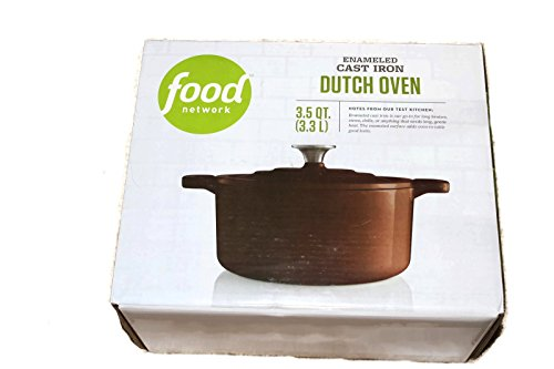 Food Network 3.5 qt Enameled Cast-Iron Dutch Oven Chocolate