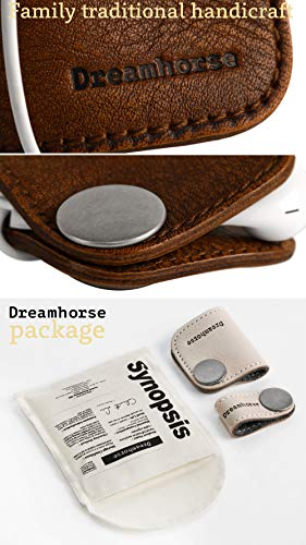 Cord Winder Cord Organizer Earbud Holder Earphone Wrap Earphone Organizer Headset Headphones Earphone Wrap Dreamhorse's Handmade Leather Protection Headphone Cable Pack of 2 Brown by DreamHorse (Image #4)
