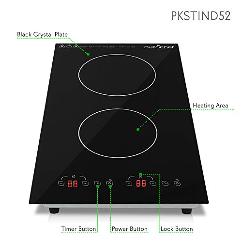 Dual 120V Electric Induction Cooker - 1800w Portable Digital Ceramic Countertop Double Burner Cooktop w/ Countdown Timer - Works w/ Stainless Steel Pan / Magnetic Cookware - NutriChef PKSTIND52 by NutriChef (Image #2)