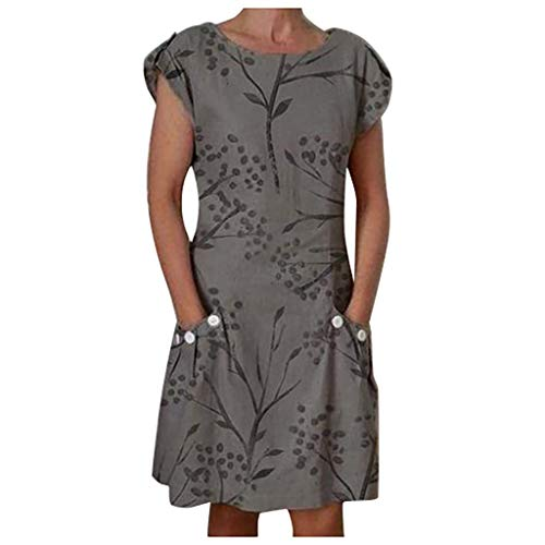 2019 Fashion Women's Casual Dress O-Neck Short Sleeve Botton Floral Printed Dress with Pocket Gray
