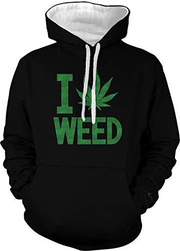 Amdesco Men's I Love Weed Two Tone Hoodie, Black/White Large