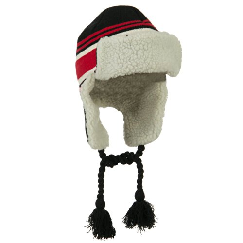 Contrast Jacquard Striped Knit Ski Hat - Black Red OSFM