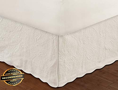 Werrox Ivory Quilted Queen or King BEDSKIRT : Cottage Cotton Paisley Bed Skirt Ruffle King Size | Quilt Style QLTR-291267833 (Mlb Queen Bedskirt)