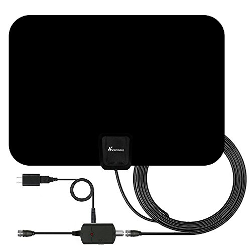 : TV Antenna, Vansky Indoor Amplified HDTV Antenna 50 Mile Range with Detachable Amplifier Signal Booster, USB PowerSupply and 16.5FT High Performance Coax Cable - Upgraded Version Better Reception