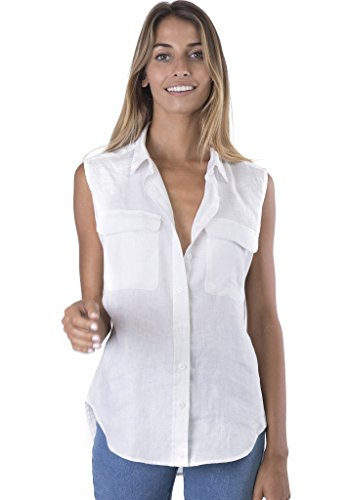 Sleeveless Button-down Two Pockets Shirt Go Cool Casual M Off-White (Linen Sleeveless Blouse)