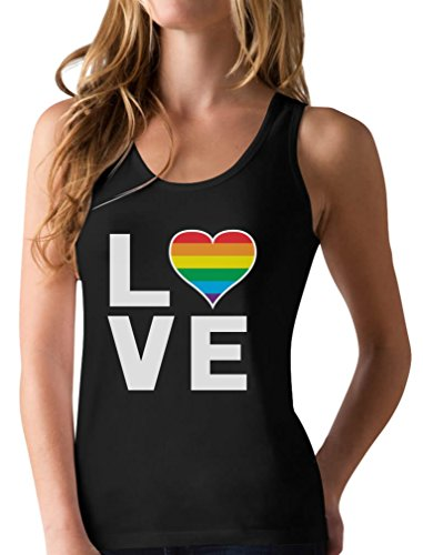 Gay Love - Rainbow Heart Gay Pride Awareness Racerback Tank Top Large Black