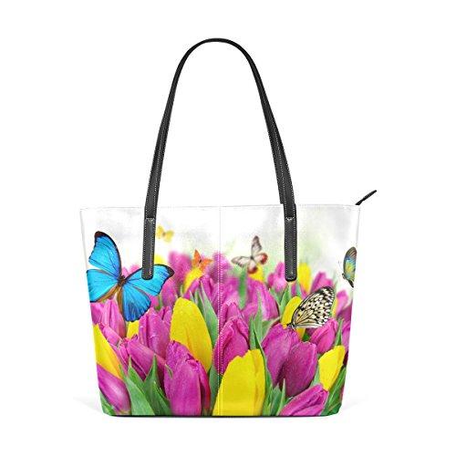 Wo Kann Ich Blumen Kaufen coosun bunte tulpen blumen und schmetterlinge pu leder