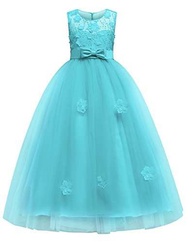 Style Prom Gowns Princess (Blevonh Green Girls Dress Prom Putty Tulle Princess Ball Gowns Kids Pageant 3D Flower Wedding Party Dresses with Zipper Child Sleeveless Lace Dress Size(140) 9-10 Year Green Dresses)