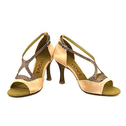T.T-Q Frauen Beruf Tanzschuhe Bronze Latin Sandalen Salsa Jazz Tango Swing Praxis Indoor-Performance  38|Bronze