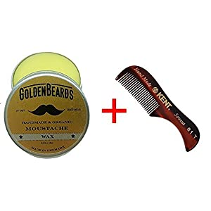 Moustache Wax & Kent Comb 81 T- Get the BEST Moustache Wax KIT with a Kent Brush at BEST Price, Save money ordering these two products!