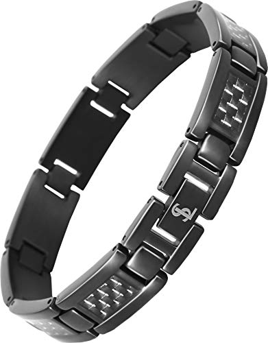 Smarter LifeStyle Elegant Surgical Grade Steel Men's Carbon Fiber Bracelet, Stylish Without Magnets (Black Bracelet, Grey Carbon Fiber)